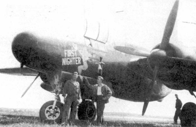 «FIRST NIGHTER» — P-61B из 414 NFS. Снимок сделан на аэродроме Штрассфельд в Германии в 1945г.