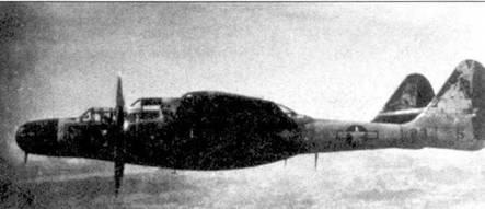 Тихоокеанские тайфуны «съели» изрядную часть окраски этого P-61B из 418 NFS. Опознавательный знак накрашен по новой прямо на металлическую обшивку.