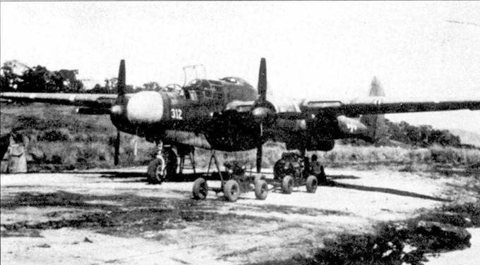 P-61A серийный номер 42-5507 из 419 NFS, бортовой номер «312» написан белой краской. В 1944г. 419-я ночная истребительная эскадрилья базировалась в Пуэрто-Принцесса, Палаван. Самолеты поступали в эскадрилью окрашенные в грязно-оливковый/нейтрально-серый цвета с неокрашенными обтекателями РЛС. В полевых условиях обтекатели РЛС окрашивались светлой радиопрозрачной краской.