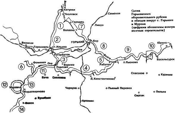 Схема Горьковского оборонительного рубежа.