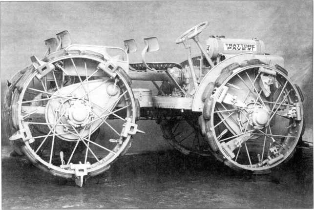 «Павези» на колесах с резиновыми башмаками. Шпоры на задних колесах в рабочем положении и на передних в холостом (РГВА).
