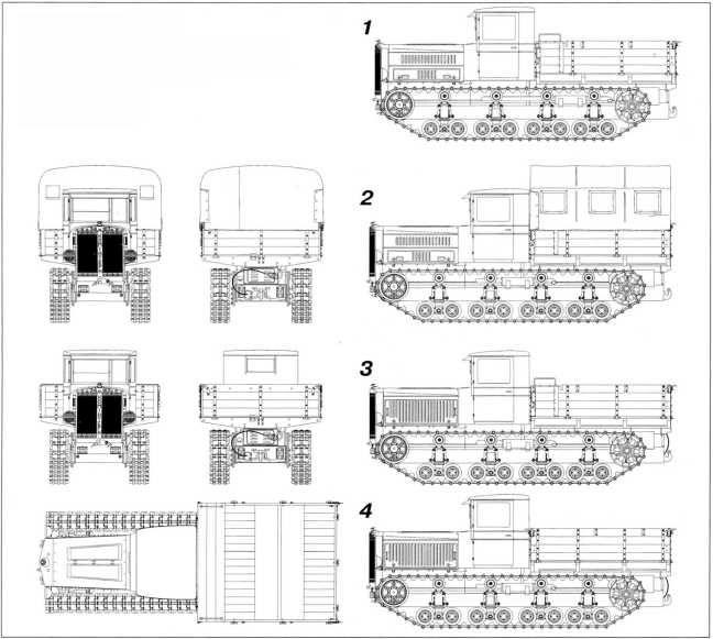 Трактор «Коминтерн». Общий вид. На боковых проекциях представлен обобщенный внешний вид тягачей «Коминтерн». 1 — с №4 по №155; 2 — с №156 по №916; 3 — с №917 по №1500; 4 — с №1501.