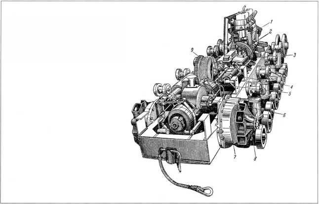 Общий вид трансмиссии «Коминтерна». 1 — двигатель; 2 — главный фрикцион; 3 — коробка передач; 4 — карданный вал; 5 — фрикционная муфта; 6 — коробка конических шестерен; 7 — бортовая передача; 8 — ведущее колесо; 9 — лебедка.
