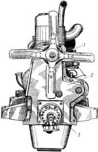 Двигатель. в) вид справа. 1 — вентилятор; 2 — крышка; 3 — ручной стартер.