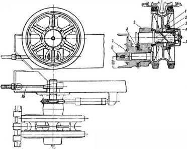 Направляющее колесо с натяжным приспособлением. 1 — ступица направляющего колеса; 2 — плавающая втулка; 3 — колпак; 4 — шайба; 5 — ось; 6 — зажимной болт; 7 — цапфа; 8 — зубчатая шайба; 9 — кривошип; 10 — стяжной болт.
