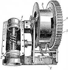 Червячная передача и барабан лебедки. 1 — червячный вал; 2 — червячное колесо; 3 — барабан лебедки; 4 — прорезь для каната; 5-зубчатый венец; 6 — головка поводка.