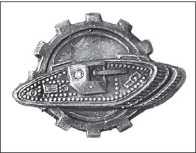 В эмблеме отдельного Танкового полка РККА был использован силуэт танка Mk V.