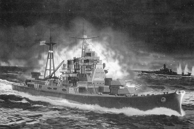 Тяжелый крейсер «Такао» ведет огонь главным калибором по американскому линкору «Южная Дакота», Гуадалканал, ночь с 14 на 15 ноября 1942г. Крейсеры «Такао» и «Атаги», линкор «Киришима» при выполнении боевой задачи по обстрелу авиабазы корпуса морской пехоты США в Хендерсон-Филд были перехвачены американским линкором «Южная Дакота» и крейсером «Вашингтон». В ночном бою линкор «Киришима» был потоплен, а линкор «Южная Дакота» получил тяжелые повреждения.