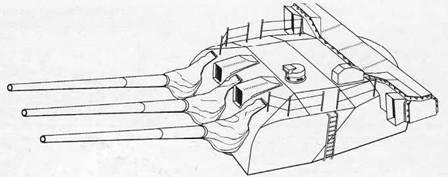 155-мм трехорудийная башня главного калибра крейсера «Могами»