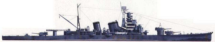 К моменту своего потопления в июле 1945г. крейсер «Аоба» прошел модернизацию, в ходе которой ни нем смонтировали новую фок-мачту с антенной РЛС, надпалубные торпедные аппараты, было усилено зенитное вооружение. Крейсер «Аоба» окрашен в стандартный среднесерый цвет, верхушки дымовых труб — глянцево-черные, в глянцевый черный цвет также окрашена верхняя часть грот-мачты.