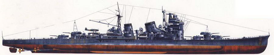 Так выглядел крейсер «Миоко» 28 февраля 1942г., когда он вместе с крейсером «Ашигара» пустил артиллерийским огнем ко дну британский крейсер «Эксетер» во время сражения в Яванском море. «Миоко» окрашен в стандартный средне-серый цвет, подводная часть корпуса покрашена красно-коричневой грунтовкой. Верхние части грот-мачты и дымовых труб — глянцевого черного цвета.