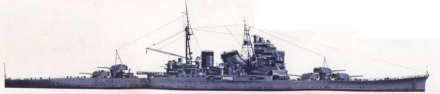 Так выглядел крейсер «Майя» в начале 1944г. Облик крейсера не сильно изменился с момента вступления корабля в строй, лишь добавились зенитные автоматы. Крейсера «Майя» и «Чокай» не прошли глубокой модернизации подобно однотипным с ними крейсерам «Такао» и «Атаго». Окраска — стандартная для японских тяжелых крейсеров.