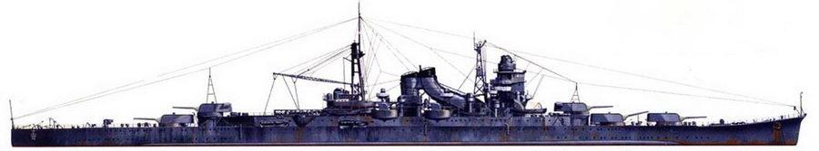 Крейсер «Сузуя» на момент своего потопления в битве при острове Самар. При замене башен со 155-мм орудиями на башни с 203 мм орудиями, выяснилось, что башня №2 главного калибра с орудиями, установленными на нулевой угол возвышения, не влезает между надстройкой и башней главного калибра №1, поэтому стволы орудия башни №2 подняты. Окраска — штатная: средне-серая.