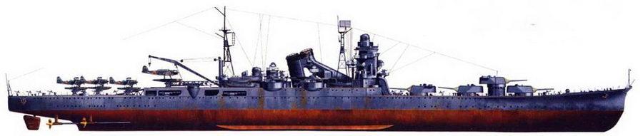 «Тоне» — уникальный тяжелый крейсер, вся артиллерия главного калибра которого сосредоточена в носовой части корабля. Крейсер получил серьезные повреждения в ходе сражения при острове Самар, но окончательно его потопила американская палубная авиация только 24 июля 1945г. окраска — стандартная: средне-серая.