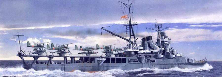 Тяжелый гидроавианесущий крейсер «Могами» перед боестолкновением с американскими крейсерами в проливе Суригио, 25 октября 1944г. Тогда «Могами» уцелел, но лишь затем чтобы быть чуть позже потопленным американскими палубными самолетами