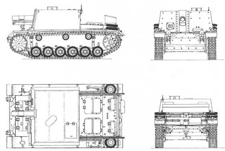 SturmlnfanterieGeschutz 33B /SdKfz 141/1 / на виде сверху ящик для запасных частей и инструментов условно не показан