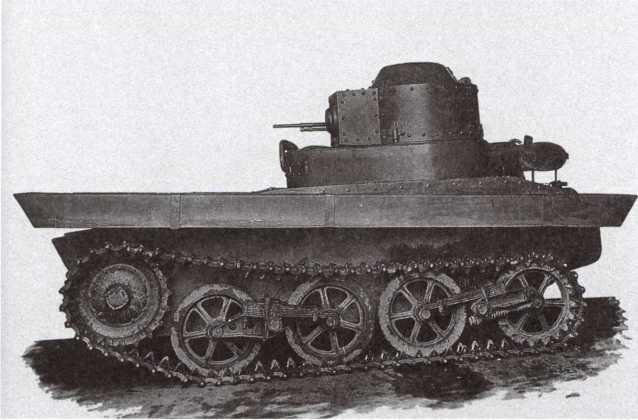 Опытный образец танка Т-33 конструкции ОКМО, вид слева. Хорошо видна форма поплавков над гусеницами. 1932 год (АСКМ).