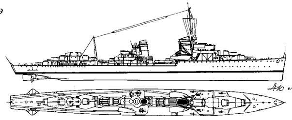 "Эскадренный <a href='https://arsenal-info.ru/b/book/1444485819/46' target='_self'>миноносец</a> ""Z-4"", 1937 г."