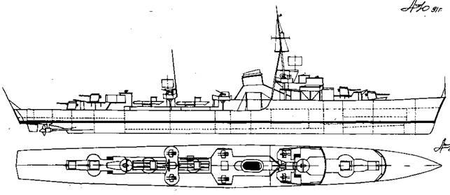 """Корабль проекта """"Флотскийминоносец 1940"""""""