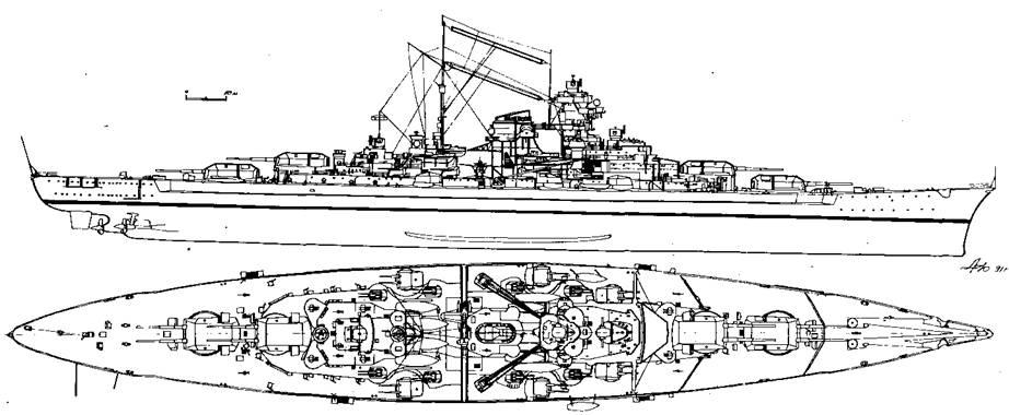 """Линейный корабль """"Бисмарк"""", 1940 г."""