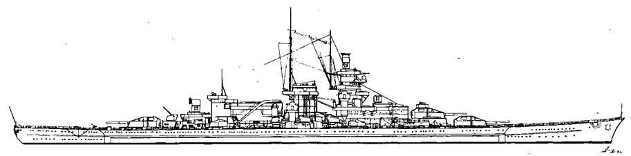 """Линейный крейсер """"Гнейзенау"""", 1942 г."""