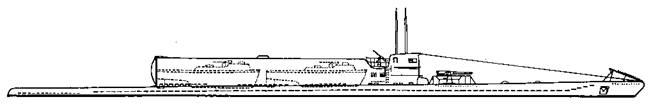 Проект подводной лодки III серии (переоборудованной для транспортировки штурмовых ботов или легких торпедных катеров)