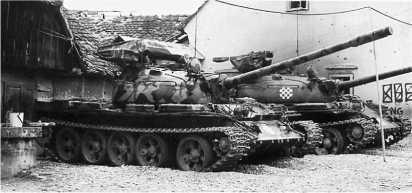 Танки Т-55А хорватской армии. 1991 год.