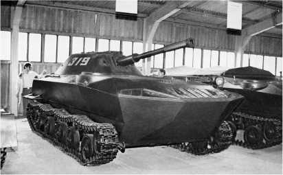 Опытный образец плавающего танка К-90 в экспозиции Военно-исторического музея бронетанкового вооружения и техники в Кубинке.