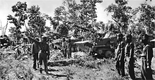 Танки ПТ-76 и Т-34-85 армии Лаоса. 1980 год.