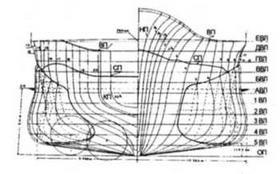 ТКР Такао, теоретический чертеж (на октябрь 1939 г.).