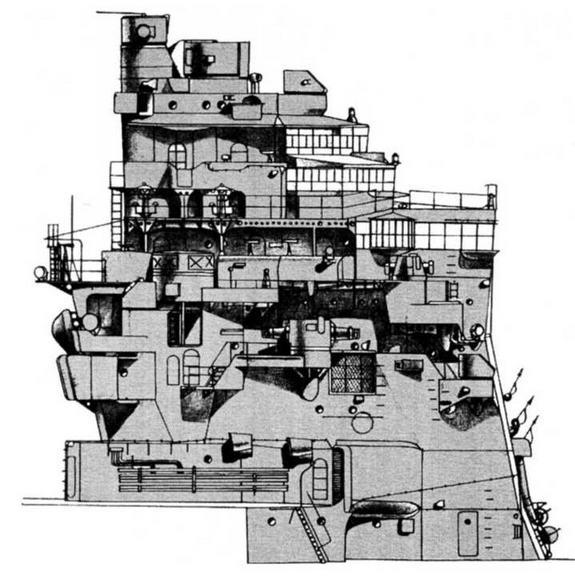 Боковой вид носовой надстройки ТКР Такао (на июль 1944 г.)