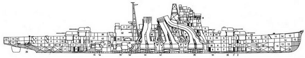 Продольный разрез ТКР-ПВО Майя на 1944 г.