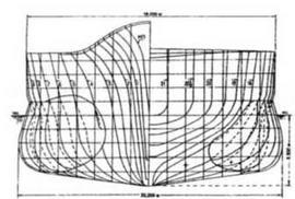 Теоретический чертеж ТКР Судзуя (на 1937 г.).