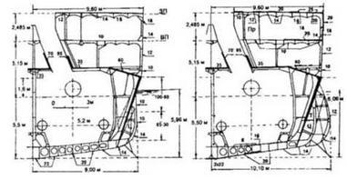 Поперечные сечения Судзуя по шп. №144 (КО №5, правый борт) (слева - после достройки в 1935 г; справа - после второй модернизации в 1937 г.).