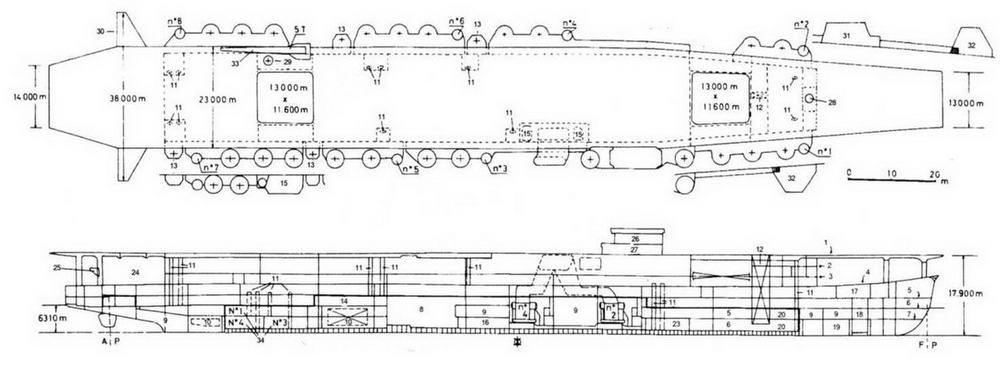 Продольный разрез план полетной палубы легкого АВ Ибуки (проект переоборудования ЛКР Ибуки на 1943 г.)