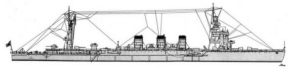 """ЛКР """"Натори"""" (на март 1944 г)."""