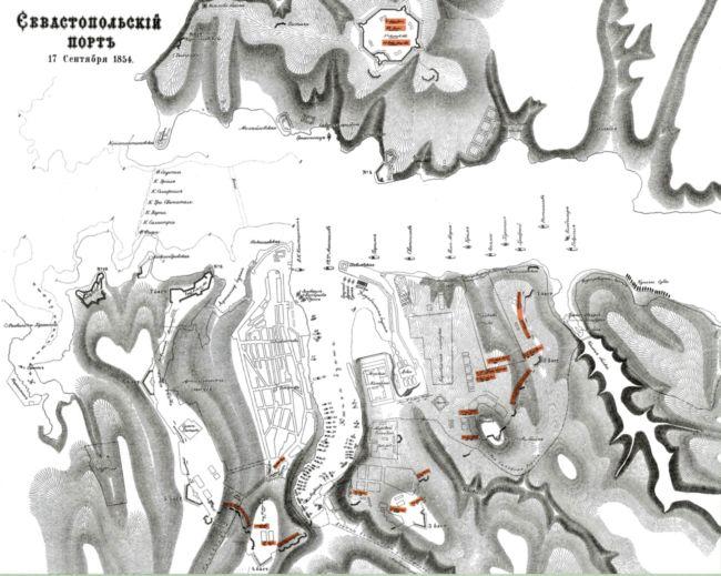 План укреплений Севастополя 17 сентября 1854г. Гравюра 1859г. (РГБ). На плане цветом выделены батальоны моряков, расположенные на севастопольских бастионах.