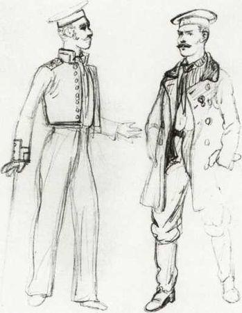 Русские матросы. Рисунок французского офицера Вансона. 1856г. (музей армии, Париж). Этот рисунок интересен тем, что показывает повседневный внешний вид моряков. В расстегнутом мундире изображен квартирмейстер.