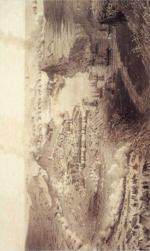Вид на Севастополь во время бомбардировки 5 (17) октября 1854г. Картина К. Юбера и А. Виктора. 1860-е гг. (Музей героической обороны и освобождения Севастополя).