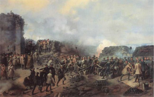Оборона Малахова кургана. Картина художника Г.Ф. Шукаева. 1856г. (ВИМАИВиВС).