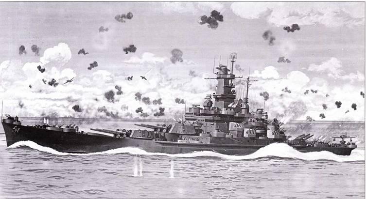 Разворот на полном ходу. «Южная Дакота» окуталась дымом от своих зениток, ведущих огонь по японским самолетам. 26 октября 1942г. зенитчики линкора за один день сбили 26 японских аэропланов. Корабль окрашен по схеме Ms. 22.