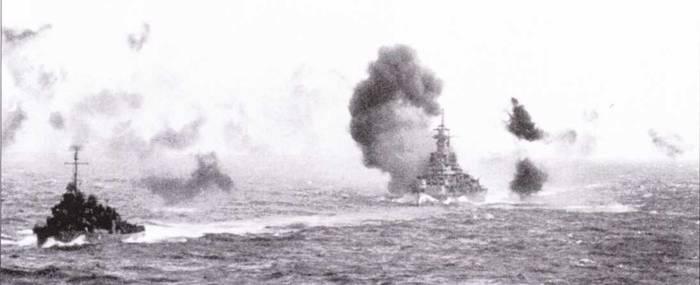 Единственная реальная угроза скоростным линкорам приходила с неба. Камикадзе раз за разом пытались атаковать линкоры, но даже попадания самоубийц не причинило американским кораблям ощутимого ущерба. «Миссури» окутан дымом — в него угодил «Зеро»-самоубийца, 11 апреля 1945г., район Окинавы. Повреждения корабля — минимальны, линкор не покинул строй.