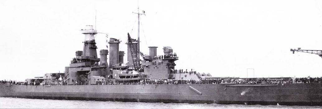 Через две недели после официального вступления в строй «Вашингтон» покинул Филадельфию, 29 мая 1941г. На корабле пока не установлено все положенное легкое вооружение и главный дальномер. Корабль окрашен по схеме Ms. I.