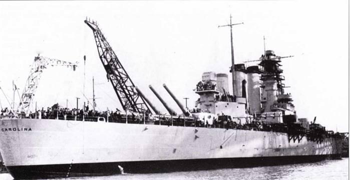«Северная Каролина» вошла к строй 9 апреля 1941г. в Нью-Йорке, линкор еще не был на тот момент в 100% готовности. Корабль окрашен по предвоенной схеме — целиком в цвет NAVY Gray.