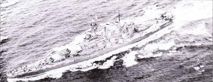 «Северная Каролина» на полном ходу, апрель 1942г. Линкор покрашен по схеме Ms. 12 (Mod.).