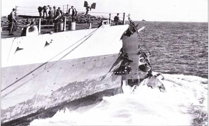 «Вашингтон» столкнулся с «Индианой» при маневрировании в водах Кваджалейна ранним утром 1 февраля 1944г. В результате столкновения у «Вашингтона» отвалилась носовая часть корпуса по шпангоуту №21. Ремонт провели быстро — 30 мая корабль уже вернулся в строй.