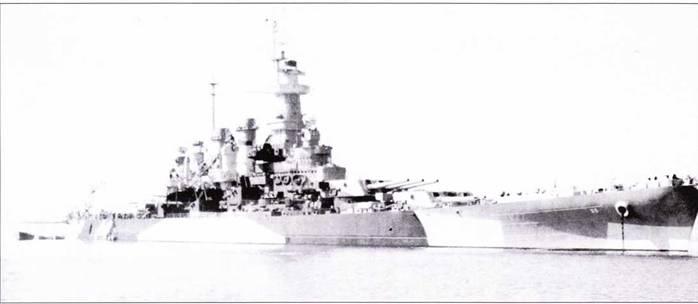 В конце лета 1944г. «Северная Каролина» прошла интенсивный ремонт, в ходе которого на корабле серьезно обновили радиолокационное оборудование. Вместо РЛС FD установлена РЛС Mk. 12/22, вместо РЛС SC — РЛС SC-2. Камуфляж изменен.