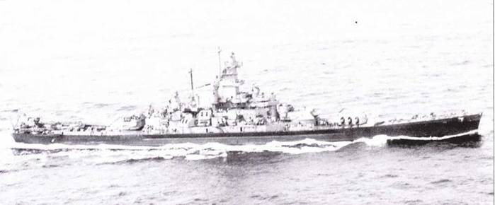 «Массачусетс» окрашен по схеме Ms. 22 в период операции «Торч», в иной окраске линкор прошел всю войну. Подобно «Алабаме», корабль перешел на Тихий океан в середине 1943г., аккурат к началу кампании в центральной части Тихоокеанья.
