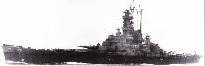 «Алабама» держит курс домой. Можно различить изменения в радиолокационном хозяйстве линкора, выполненные к феврале 1945г. На главной мачте смонтирована антенна РЛС SK-2 и пара антенн системы постановки помех TDY, также на главной мачете стоят антенны РЛС SK и SG. Корабль окрашен по схеме Ms. 22.