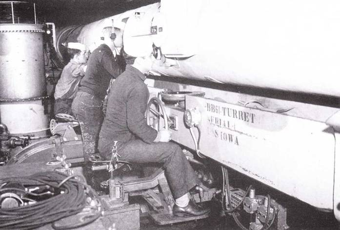 Трое моряков обслуживают башенный дальномер.
